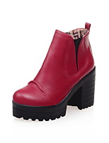 Women's Shoes Leatherette Chunky Heel Round Toe Boots Casual Black / Yellow / Burgundy