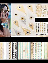 8 - Séries bijoux / Séries de fleur / Séries de totem / Autres - Doré - Motif - 14.5 * 20cm - Tatouages Autocollants - Unbranded -Homme /