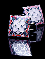 Toonykelly® Fashion Copper Silver Plated Square Flower Enamel Button Cufflink(1 Pair)