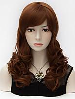 mode de dames cheveux crépus bouclés Bang complet longueur moyenne d'orange&brun mixte purecas universelle femmes du parti perruque