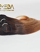 New 3pcs/set Ombre Human Virgin Short Hair Weave Wet Wavy Ombre 2 tone Color #4/27 8inch 6 colors availabe