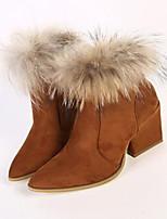 Zapatos de mujer - Tacón Robusto - Puntiagudos - Botas - Casual - Ante - Marrón