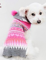 FUN OF PETS® Autumn and Winter Christmas Rose and Grey Striped Dog Sweater with Hoodie Dog Clothes for Pet Dogs