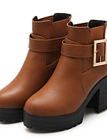 Women's Shoes Leatherette Chunky Heel Fashion Boots Boots Outdoor / Dress / Casual Black / Yellow / Gray