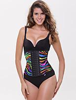 Women's Rainbow Zebra Print Latex Waist Cincher