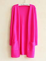 Women's Solid Blue / Pink / Red / Black / Yellow / Purple / Beige Cardigan , Vintage / Casual Long Sleeve