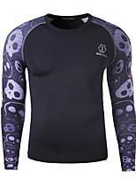 Mens Skull  Printing Speed Drying Training Long Sleeve T-Shirt
