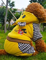 Red/Yellow Cotton Cartoon Bear Four Legs Thick Warm Sweater Winter Coats For Dogs