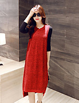 Women's Solid Red Dress , Casual Sleeveless