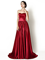 Formal Evening Dress - Burgundy A-line Sweetheart Court Train Stretch Satin