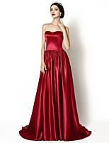 Formeller Abend Kleid - Burgunderrot Stretch-Satin - A-Linie - Hof-Schleppe - Herz-Ausschnitt