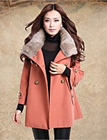 Women's Solid Pink / Almond Coat Party Long Sleeve Wool
