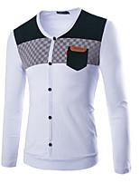 Men's Long Sleeve T-Shirt , Cotton Blend Casual Plaids & Checks