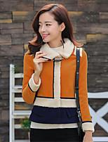 Women's Color Block Red / Brown Coat , Casual Long Sleeve Tweed
