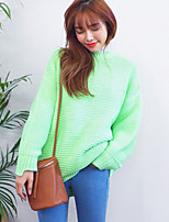 Women's Solid Pink / Green Pullover , Casual Long Sleeve
