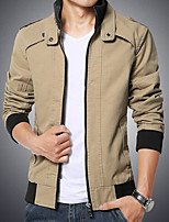 Men's Long Sleeve Jacket Cotton Casual / Plus Sizes Pure