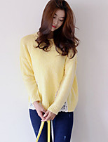 Women's Solid White / Yellow Pullover , Casual Long Sleeve