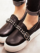 Calçados Femininos - Mocassins - Arrendondado - Plataforma - Preto - Courino - Casual
