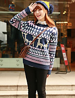 Women's Animal Blue / Red / Black / Beige Pullover , Casual Long Sleeve