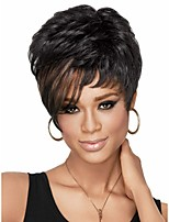 Chic Pixie Cut Synthetic African American Wigs for Women Short Wavy Hair Full Wigs with Bangs sw0116