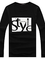 Tee-Shirt Décontracté Pour des hommes Manches longues A Motifs Coton