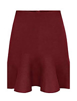 Women's Solid Red / Black / Camel / Gray Skirts , Vintage Mini