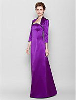 Sheath/Column Plus Sizes / Petite Mother of the Bride Dress - Grape Floor-length 3/4 Length Sleeve Satin