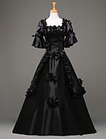 Steampunk®Black Victorian Gothic Cosplay Satin Period Dress Ball Gown Reenactment