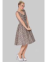 Cocktail Party Dress - Print Plus Sizes A-line V-neck Knee-length Cotton
