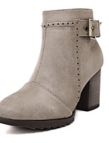 Women's Shoes Cashmere Chunky Heel Fashion Boots / Pointed Toe Boots Outdoor / Dress Black / Khaki