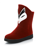 Women's Shoes Leatherette Low Heel Snow Boots / Round Toe Boots Casual Black / Burgundy