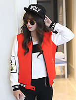 Women's Print / Patchwork Red Jackets , Casual V Neck Long Sleeve
