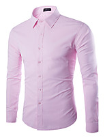 Men's Long Sleeve Shirt , Cotton / Polyester Casual Pure