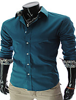 Men's Long Sleeve Shirt , Cotton Blend Casual / Work / Formal / Sport / Plus Sizes Plaids & Checks / Pure