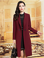 Women's Solid Red / Black Trench Coat , Casual / Work Long Sleeve Polyester