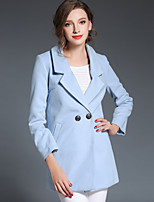 Women's Solid Blue / Pink / Gray Coat , Party / Work Long Sleeve Fur