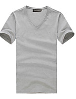Tee-Shirt Décontracté / Grandes Tailles Pour des hommes Manches Courtes Couleur plaine Coton
