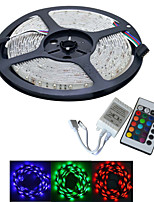 JIAWEN® Waterproof 5M 300-3528 SMD RGB LED Strip Light with 24Key Remote Controller (DC12V /5M)