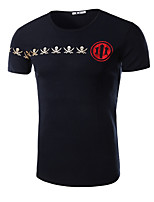 Men's Short Sleeve T-Shirt , Cotton Blend Casual Print
