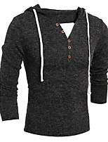 Men's Daily Casual Sports Simple Active Regular Pullover,Solid Hooded Long Sleeve Elastic Fall Winter Thin Stretchy