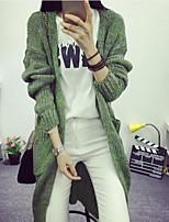Women's Solid Black / Green / Gray Cardigan , Casual Long Sleeve
