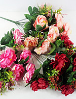 12 Heads of Peony in Silk Cloth Artificial Flower for Wedding Decoration (1 Piece)