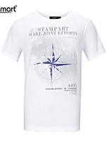 Lesmart Men's Casual Ventilate Pure Cotton Compass Pattern Letters Printing Neck Collar Slim Fit T-Shirts