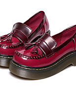 Women's Shoes   Low Heel Round Toe Loafers Casual Yellow / Burgundy