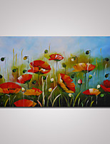 Hand-Painted Abstract Poppy Flowers Oil Painting on Canvas Ready to Hang