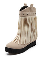 Women's Shoes Fleece Wedge Heel Fashion Boots / Round Toe Boots Dress / Casual Black / Red / Beige
