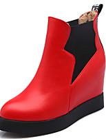 Chaussures Femme - Décontracté - Noir / Rouge / Blanc - Talon Compensé - Bout Pointu - Bottes - Similicuir