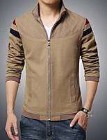 Men's Long Sleeve Jacket , Cotton Blend Casual Pure