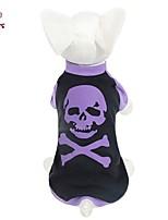 FUN OF PETS® Halloween Horrific Purple Skull Skeleton White Bone Pattern Cotton T-Shirt for Pet Dogs Dog Clothes (XS-L)