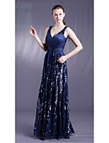 Formal Evening Dress - Ocean Blue Sheath/Column V-neck Floor-length Tulle / Stretch Satin / Sequined